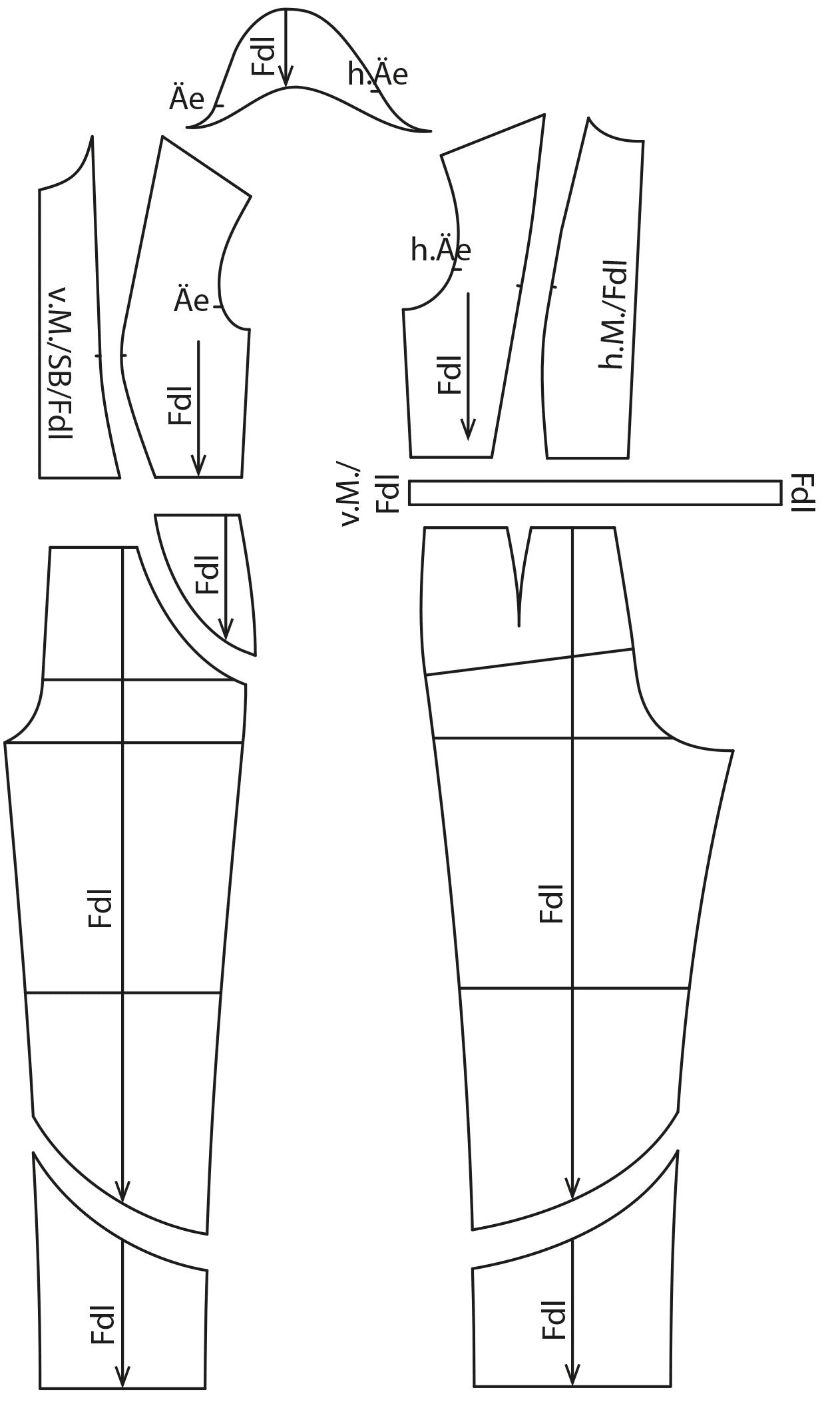 Zu sehen sind die fertigen Schnittteile auf dem Schnittmusterbogen für das Modell Overall.
