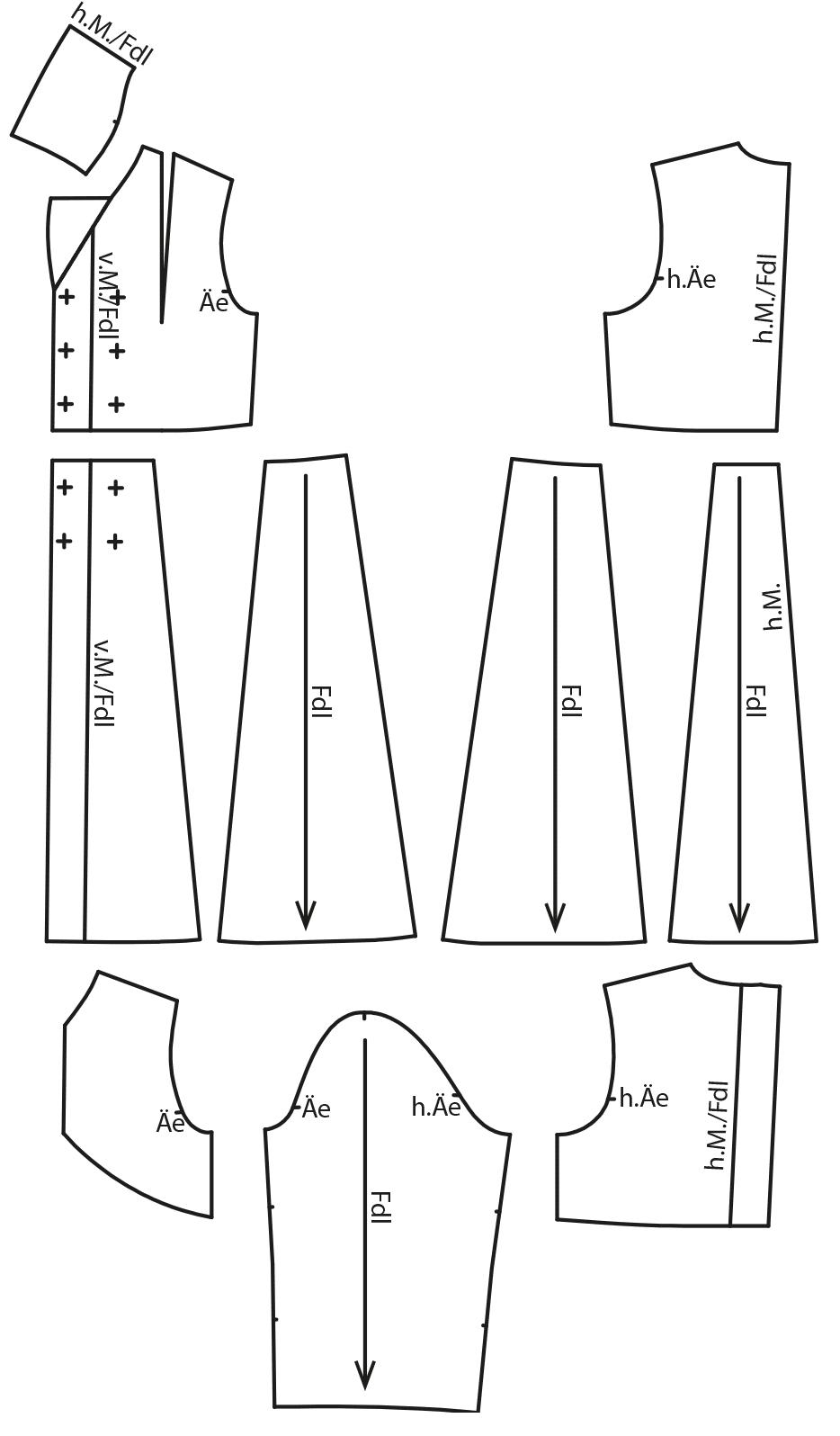 Zu sehen sind die fertigen Schnittteile auf dem Schnittmusterbogen für das Modell Trenchcoat.