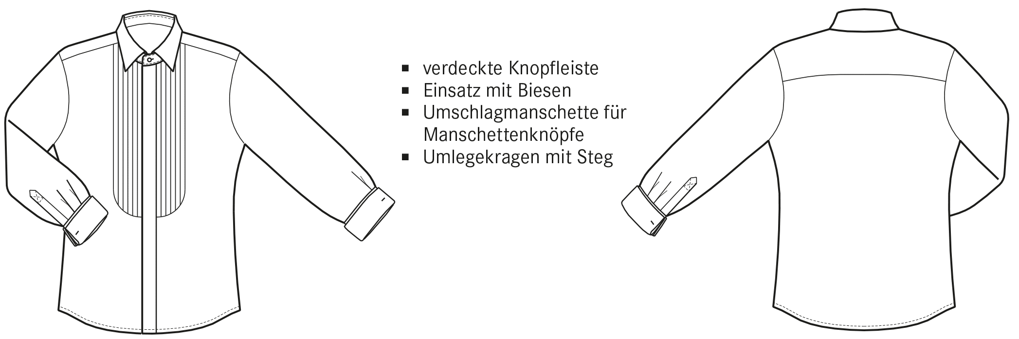 Die technische Zeichnung von einem Smokinghemd ist abgebildet.
