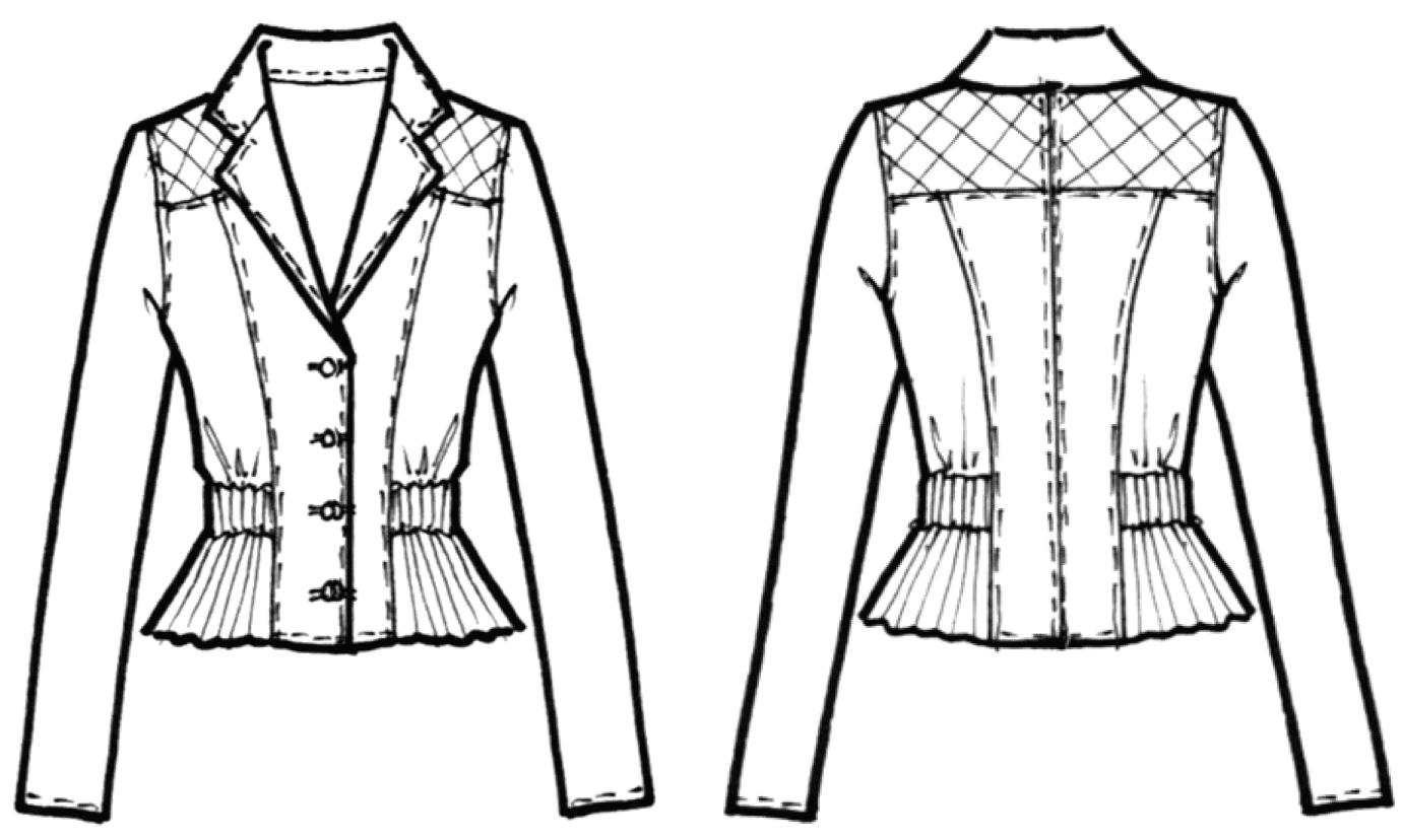 Die Abbildung zeigt die technische Zeichnung von einer Sportjacke mit Teilungsnähten und Revers. Umsetzbar in der Schnitttechnik.