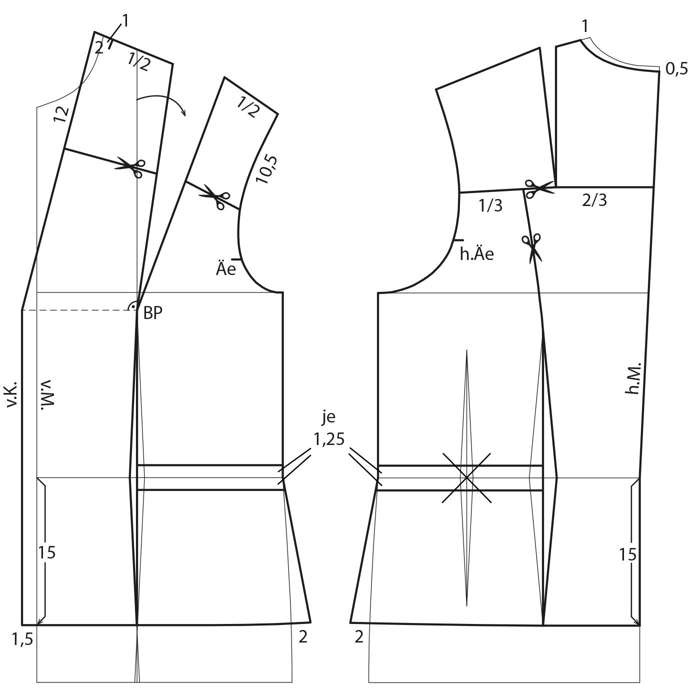 Das Foto zeigt die Schnittkonstruktion von einer Sportjacke.