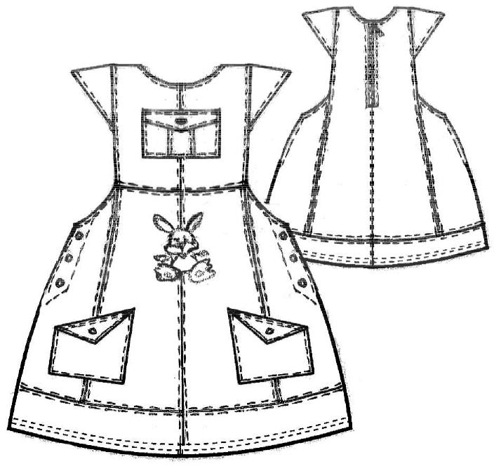 Technische Zeichnung eines Kleides mit Kappenärmel in Größe 104 für Kinderbekleidung
