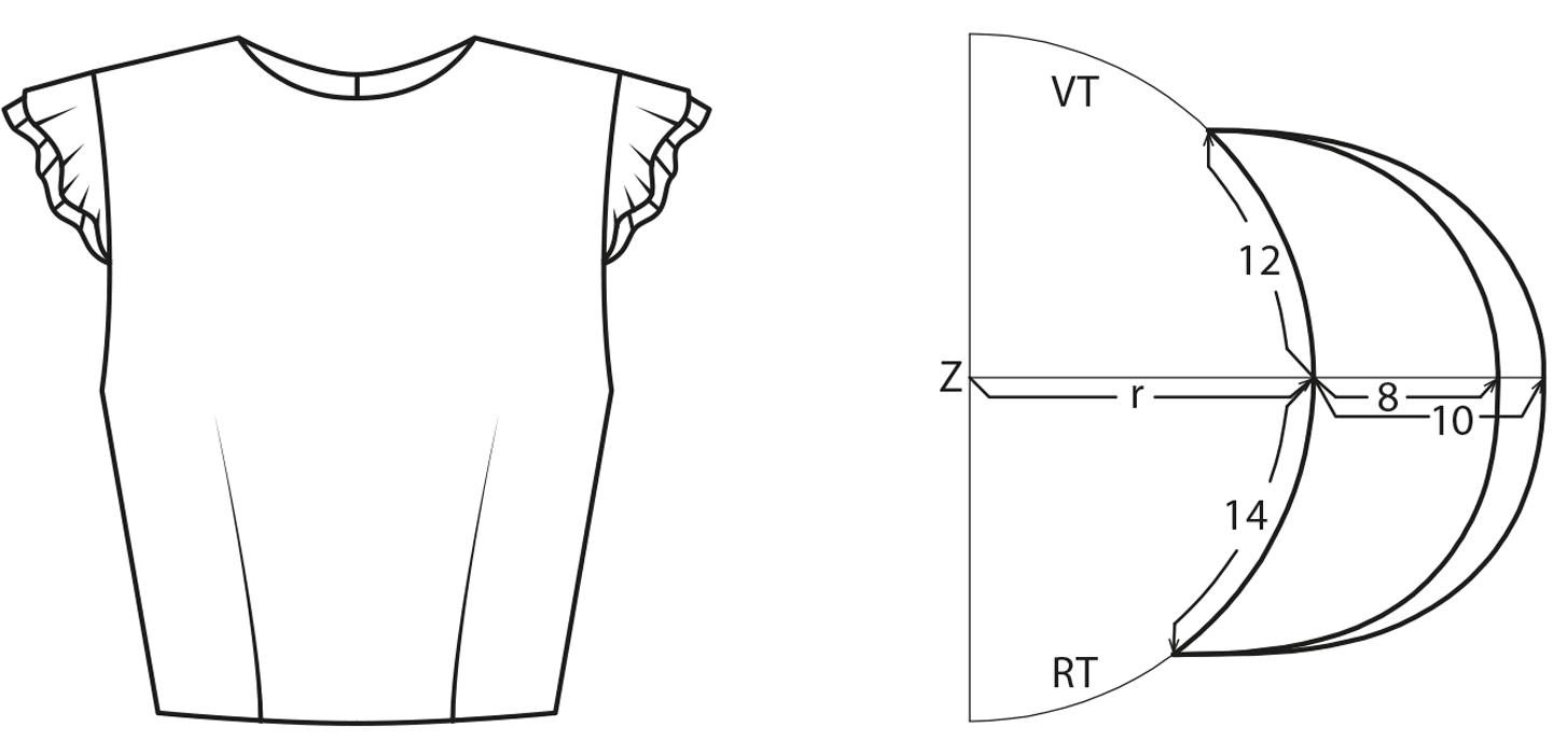 Technische Zeichnung und Schnittkonstruktion eines Flügelärmels