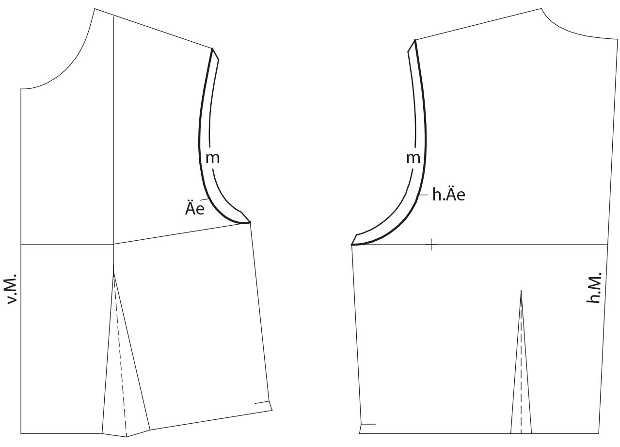 Schnittkonstruktion eines Vorder- und Rückenteils