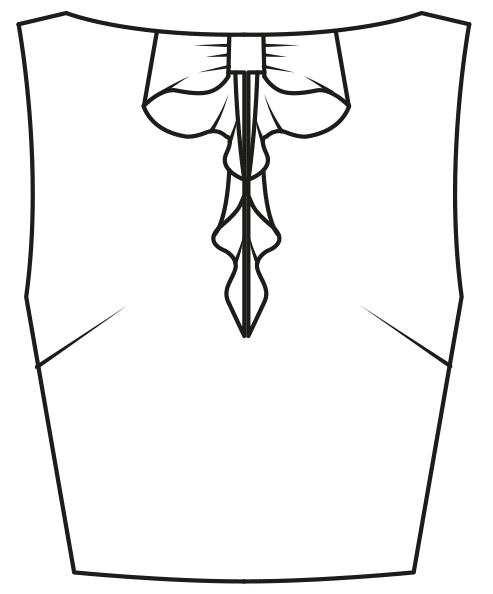 Technische Zeichnung Oberteil mit aufgesetzter Bluse am Ausschnitt