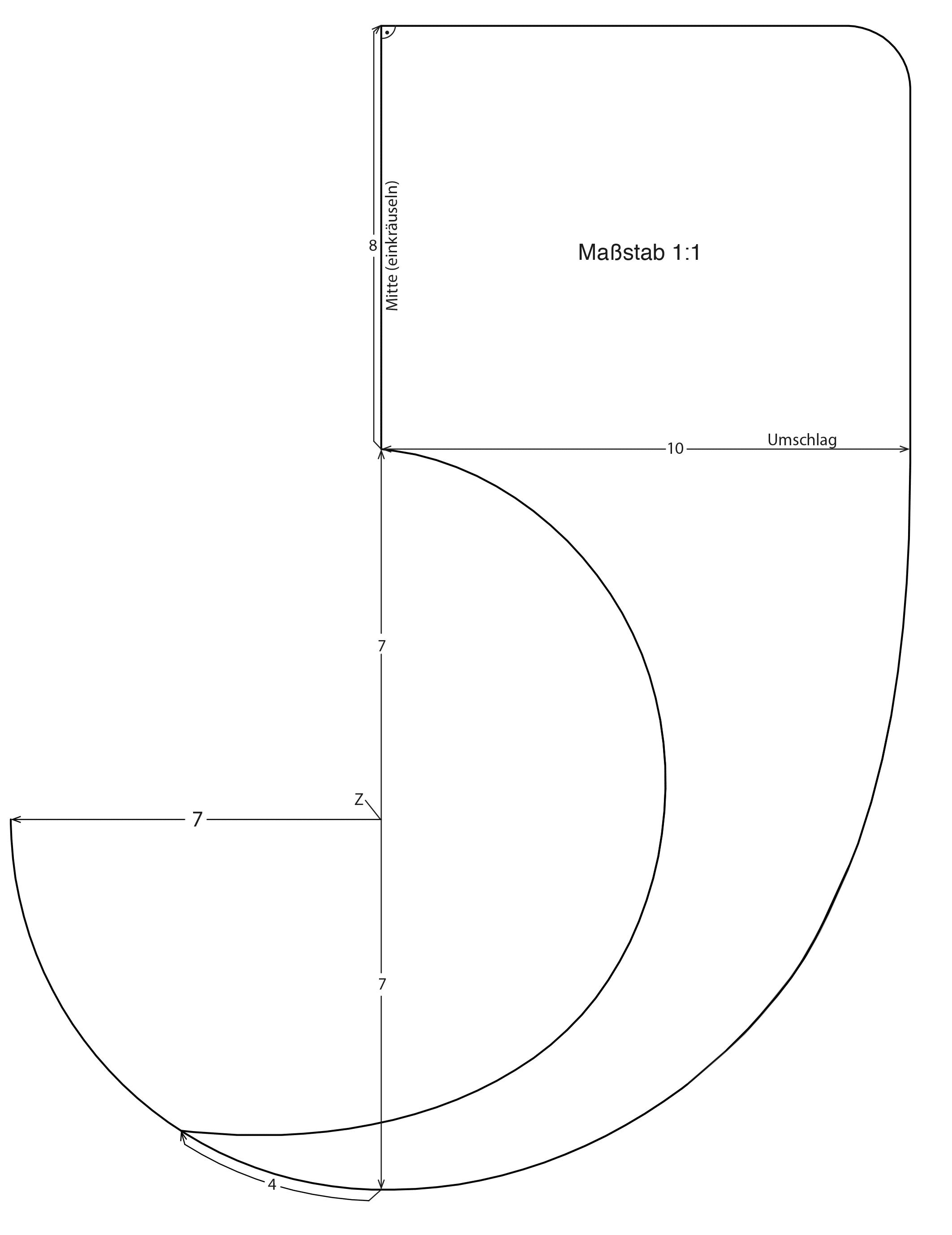 Schnittkonstruktion einer Schleife in Form eines Kreises
