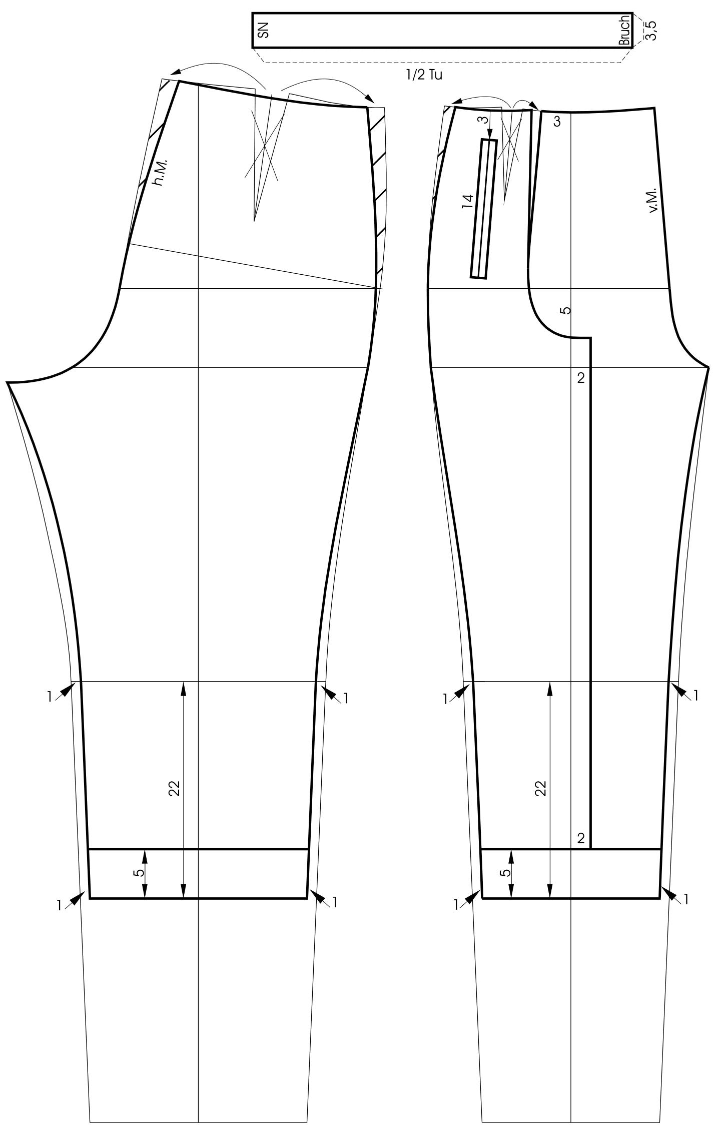 Die Schnitttechnik für eine Caprihose ist zu sehen.