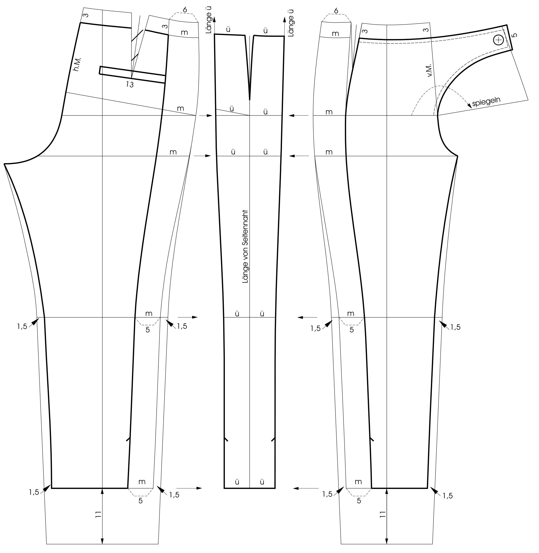 Die Schnitttechnik einer 7/8 Hose mit verlegter Seitennaht ist zu sehen.
