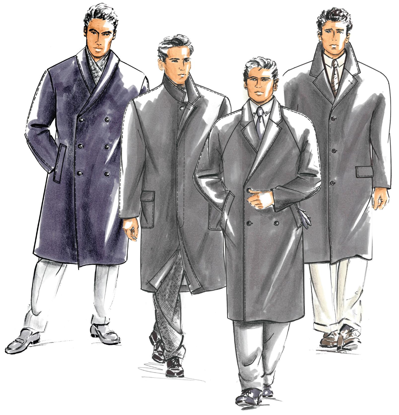 Modellzeichnungen Mäntel für Männer. Die Schnitttechnik folgt.