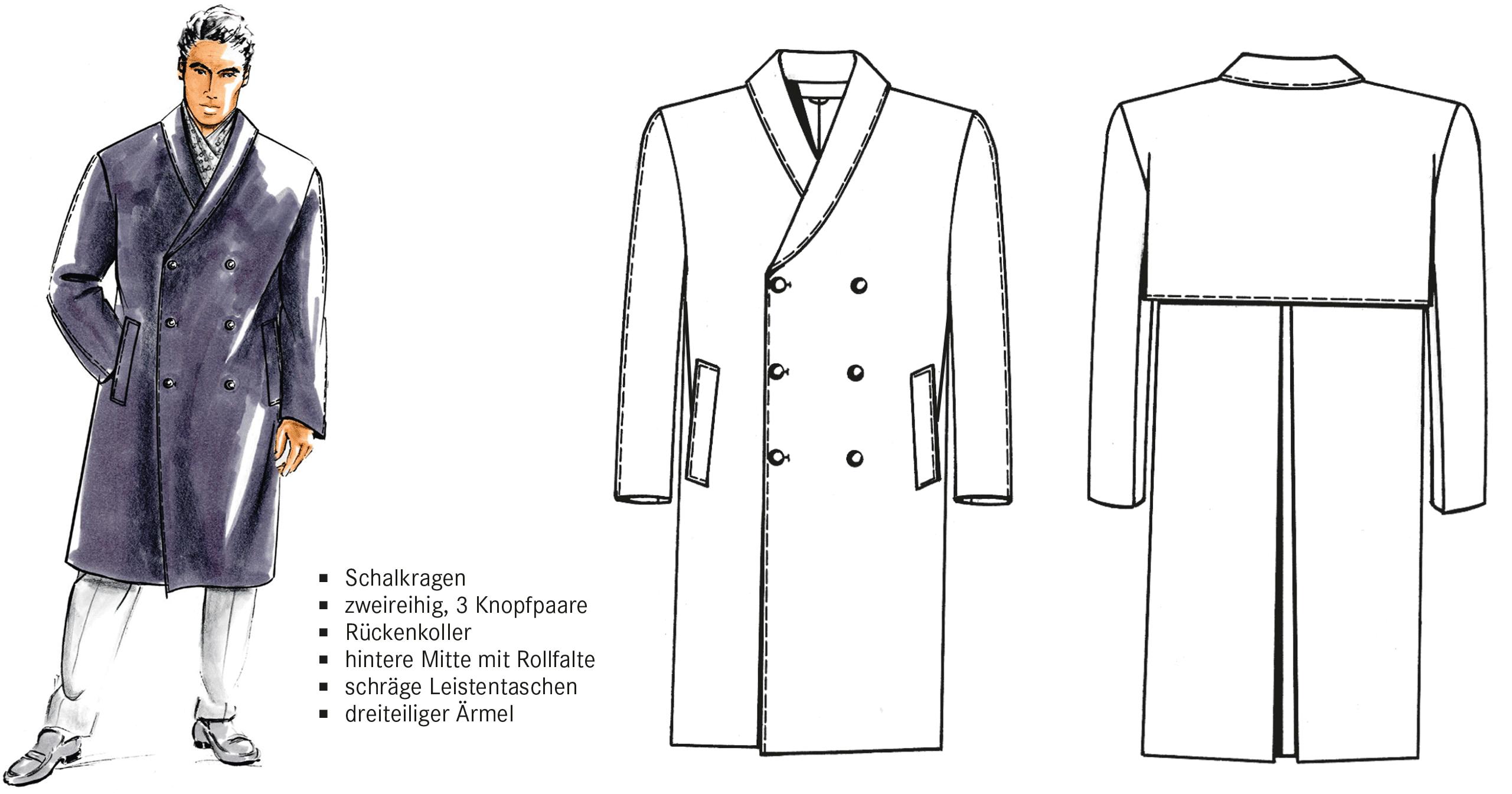 Die Abbildung zeigt die Schnitttechnik eines Doppelreihers mit Kimonoärmeln.