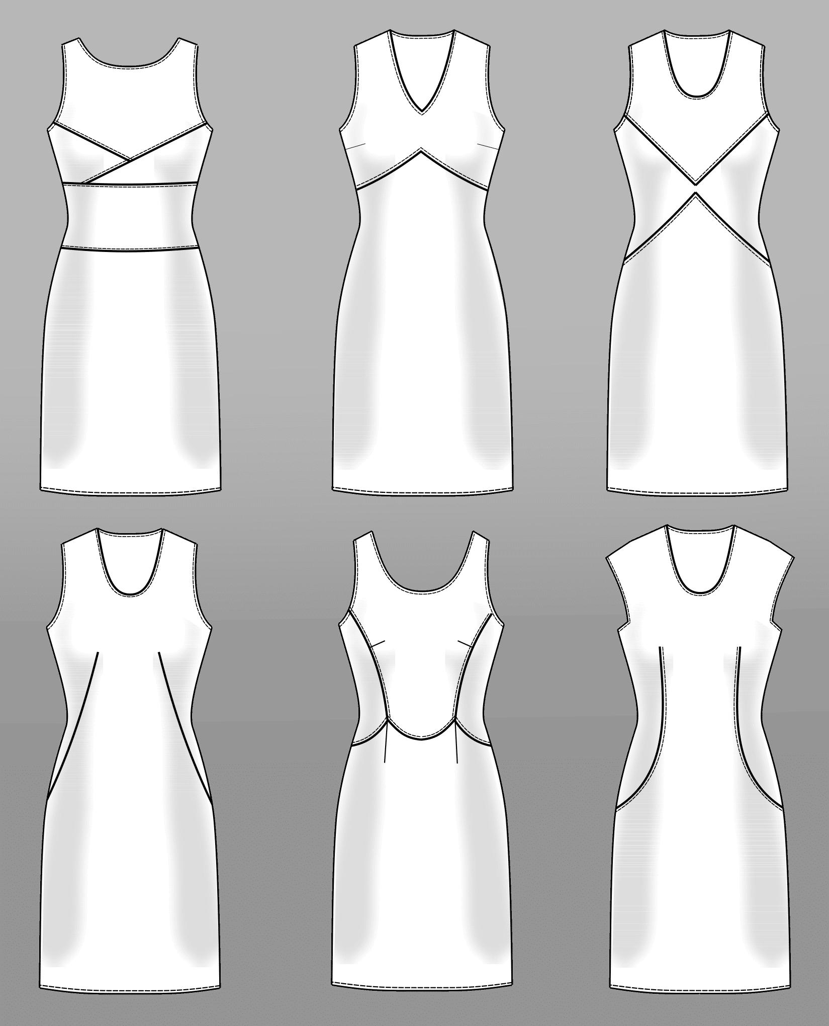 Die Abbildung zeigt die verschiedene technische Zeichnungen von Kleider mit Abnäher Verlegung.