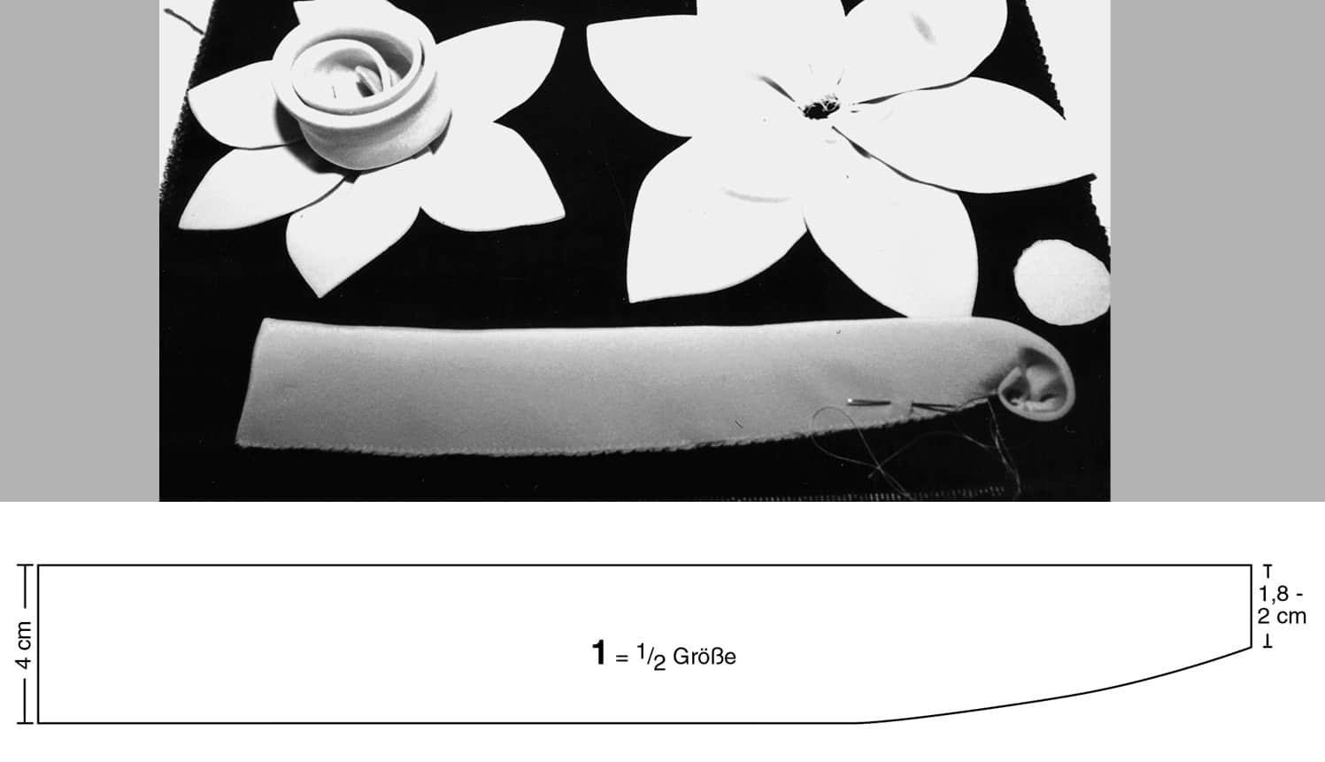 Eine gewickelte Rose, genäht aus Stoff ist abgebildet. Darunter das Schnttteil der Blütenapplikation.