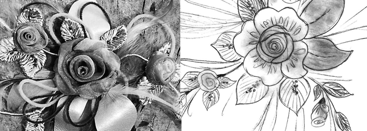 Ein Blütenbukett zum Anstecken ist abgebildet. Selber genäht-