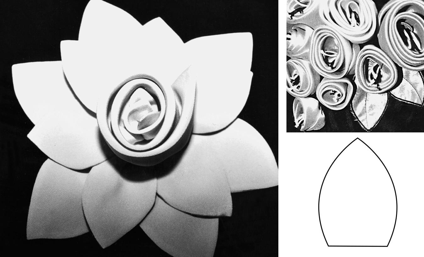 Gezeigt wird die fertige Gewickelte Rose zum selber nähen als Dekoration.