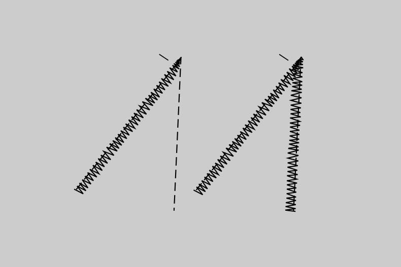 Zu sehen sind Stichanordnungen beim Überdecken der Schnittkanten