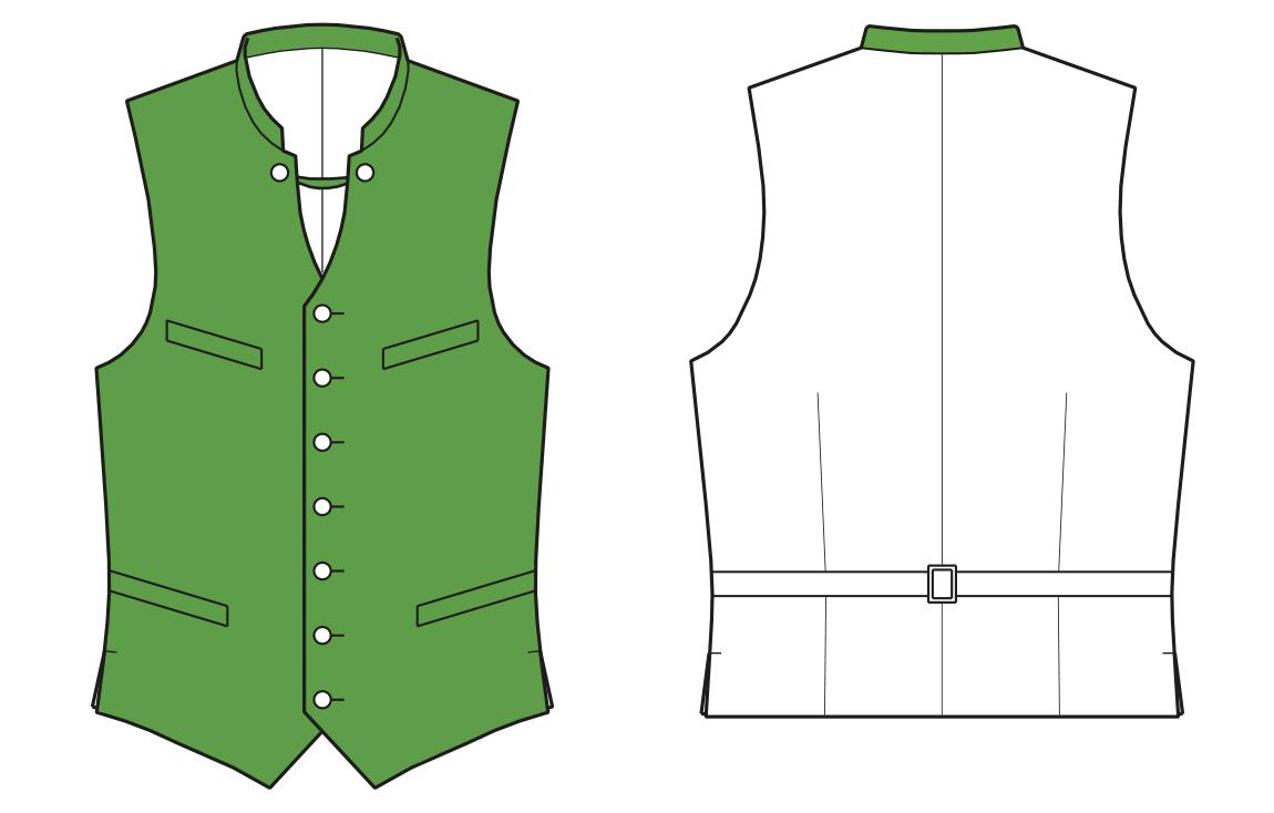 Zeigt die Vorder- und Rückansicht der technischen Zeichnung einer Weste für Herren. Sie dient als Vorlage für die Schnitt-Technik.
