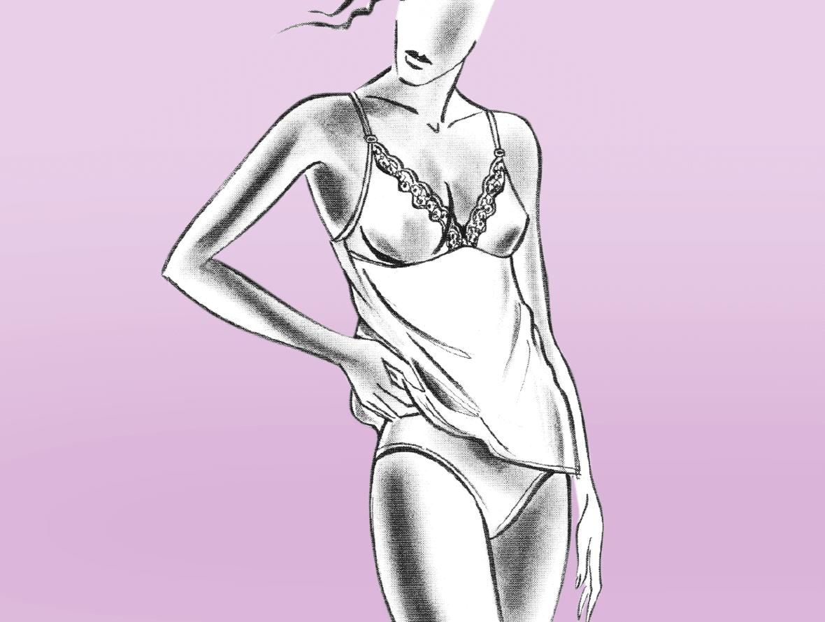 Zu sehen ist die Modellzeichnung von Dessous. Zu sehen sind Hemdchen und Höschen.