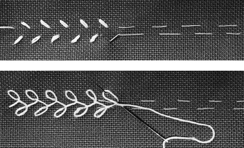 Das Foto zeigt Stoff, Nadel und Faden. Die Abbildung zeigt den Blättchenstich von der Vorder- und Rückseite.