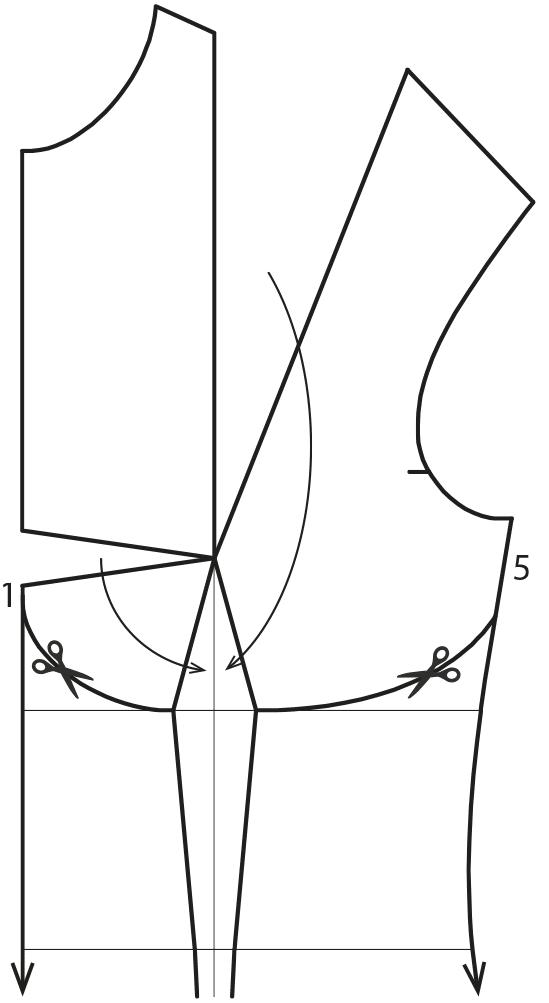 Das Foto zeigt die Schnittkonstruktion eines Bodys mit Rüschen.