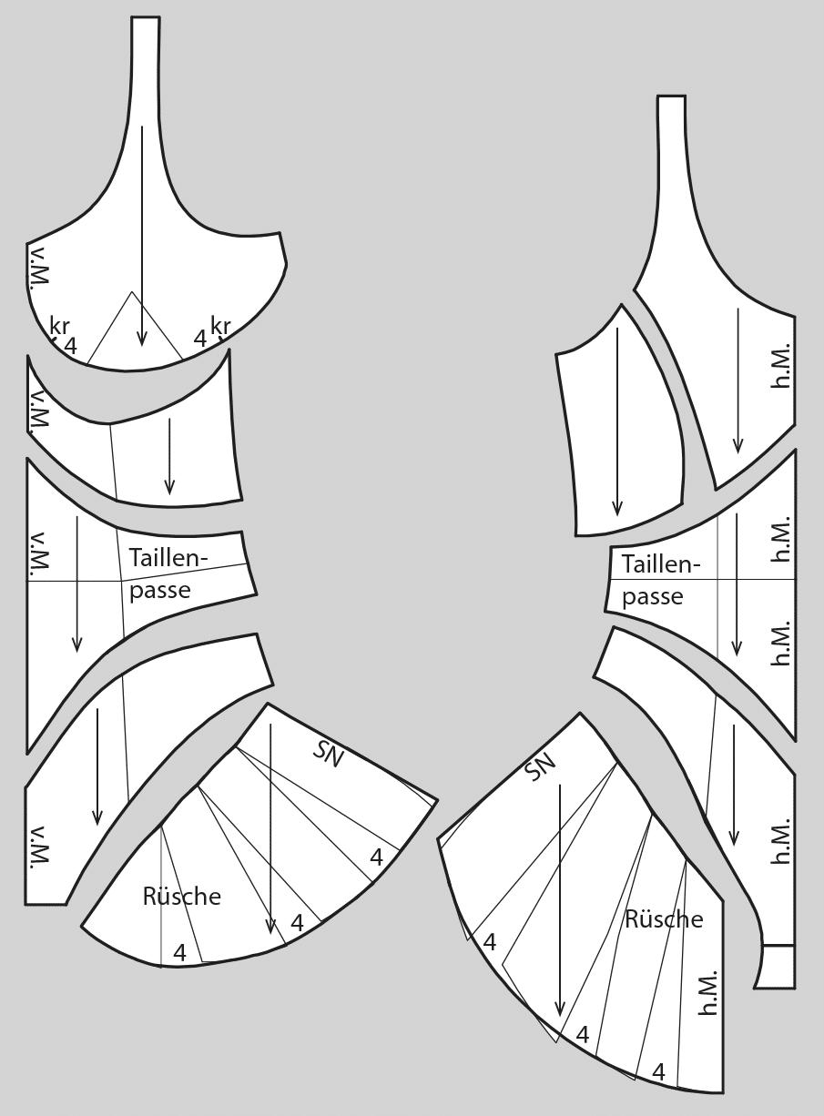Das Foto zeigt die fertigen Schnittteile eines Bodys mit Rüschen.