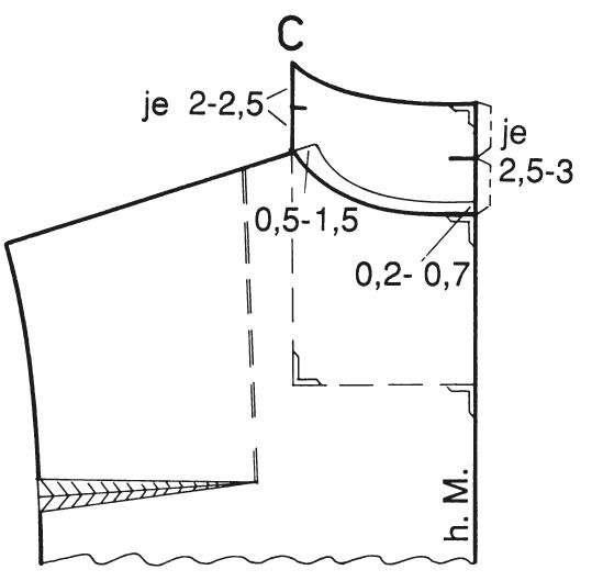 Abgebildet ist diie Schnittkonstruktion eines breiten Reverskragens mit Rückenanlage.