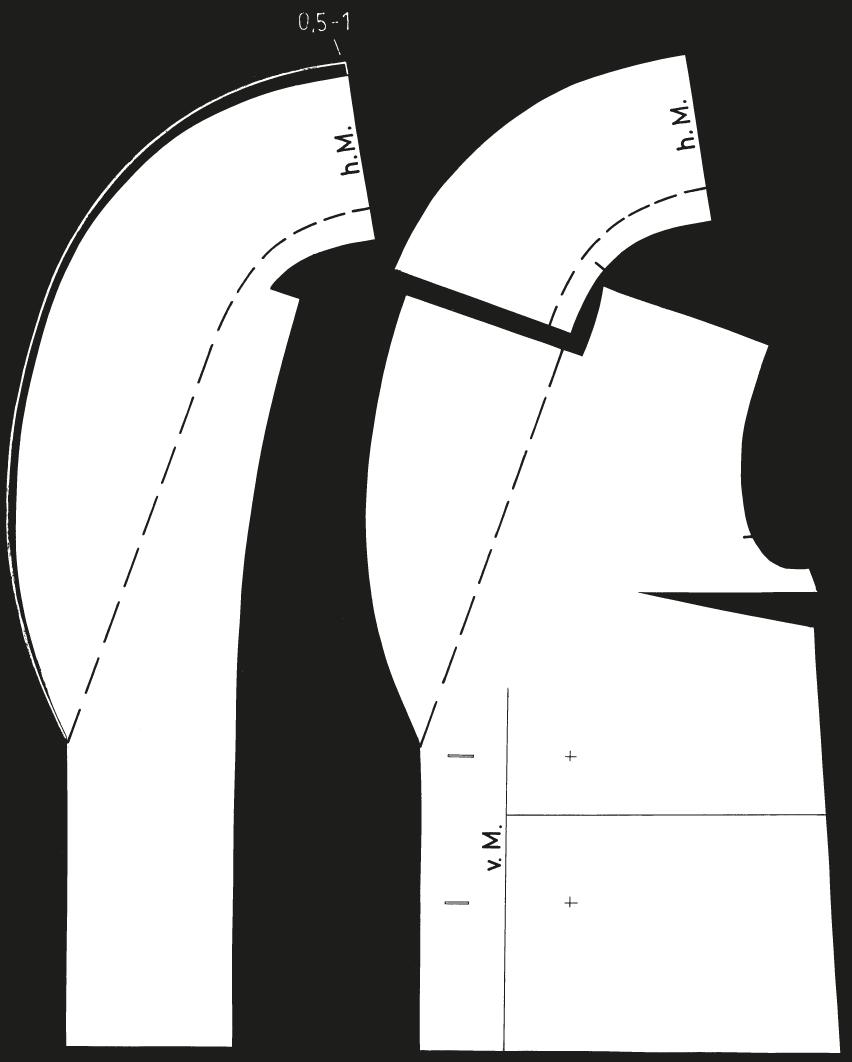 Abgebildet sind die fertigen Schnittteile eines breiten Schalkragens mit Rückenanlage.