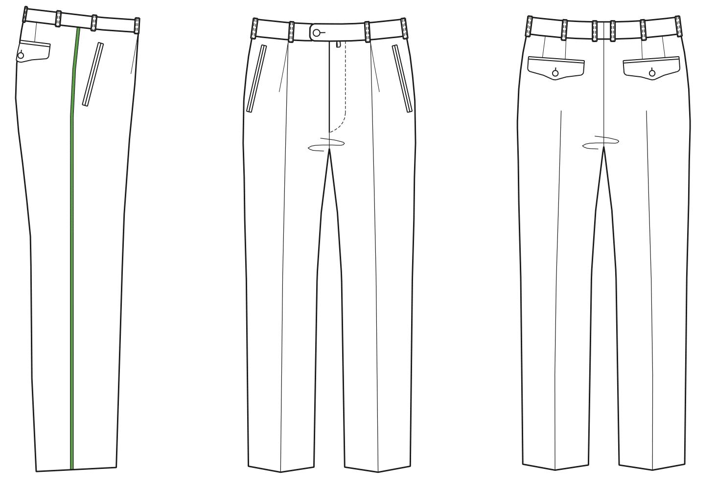 Gezeigt wird die Vorder- und Rückansicht der technischen Zeichnung einer Bundfaltenhose.