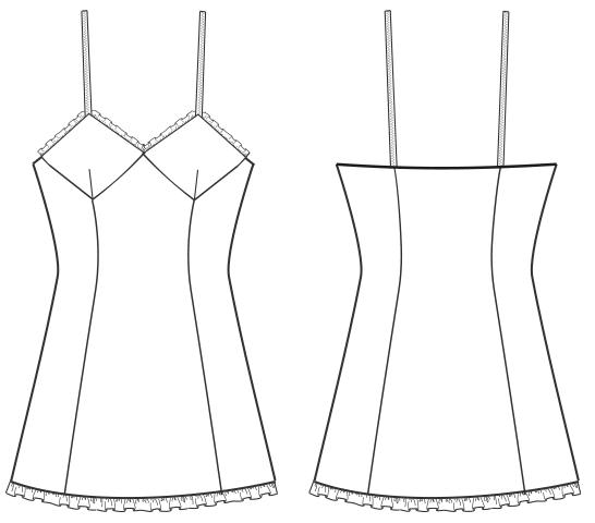 Die Abbildung zeigt die Schnitt-Technik von einer Camisole. Die Zeichnung dient als Vorlage für die Schnitterstellung.