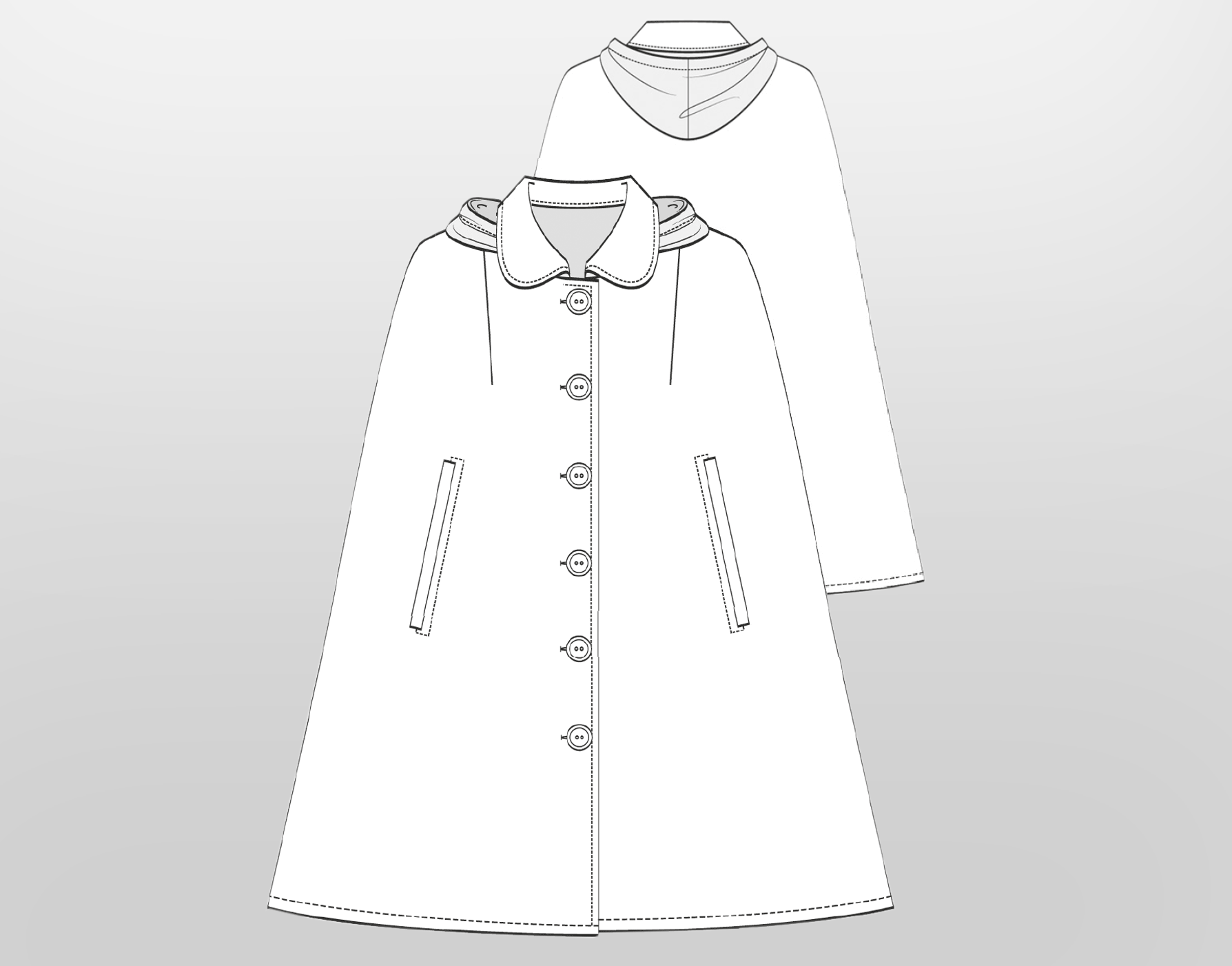 Grading a Cape with Hood and Collar from Size 38 to Size 46 › M