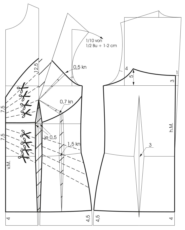 Die Abbildung zeigt die Schnittkonstruktion eines drapierten Corsage Oberteils.