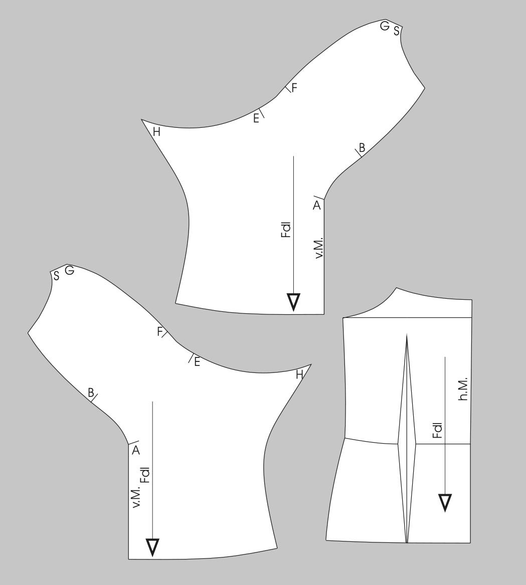 Die Abbildung zeigt die fertigen Schnittteile eines drapierten Corsage Oberteils.