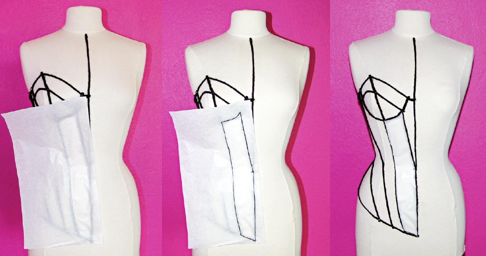 Das Foto zeigt die Entwicklung einer Corsage. Papier wird an einer Büste drapiert.