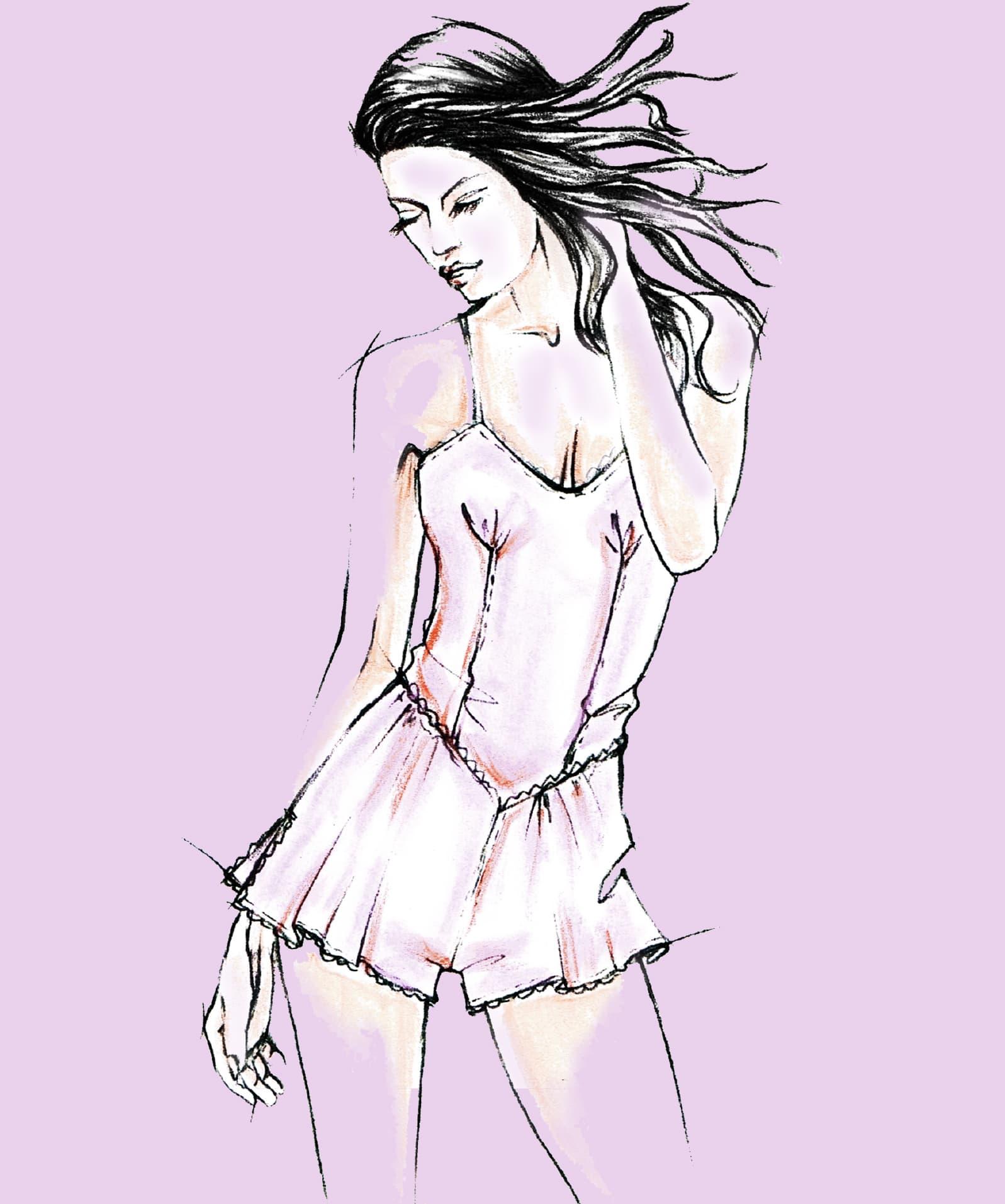Das Foto zeigt die Modezeichnungen von Dessous als Vorlage für die Schnitt-Technik