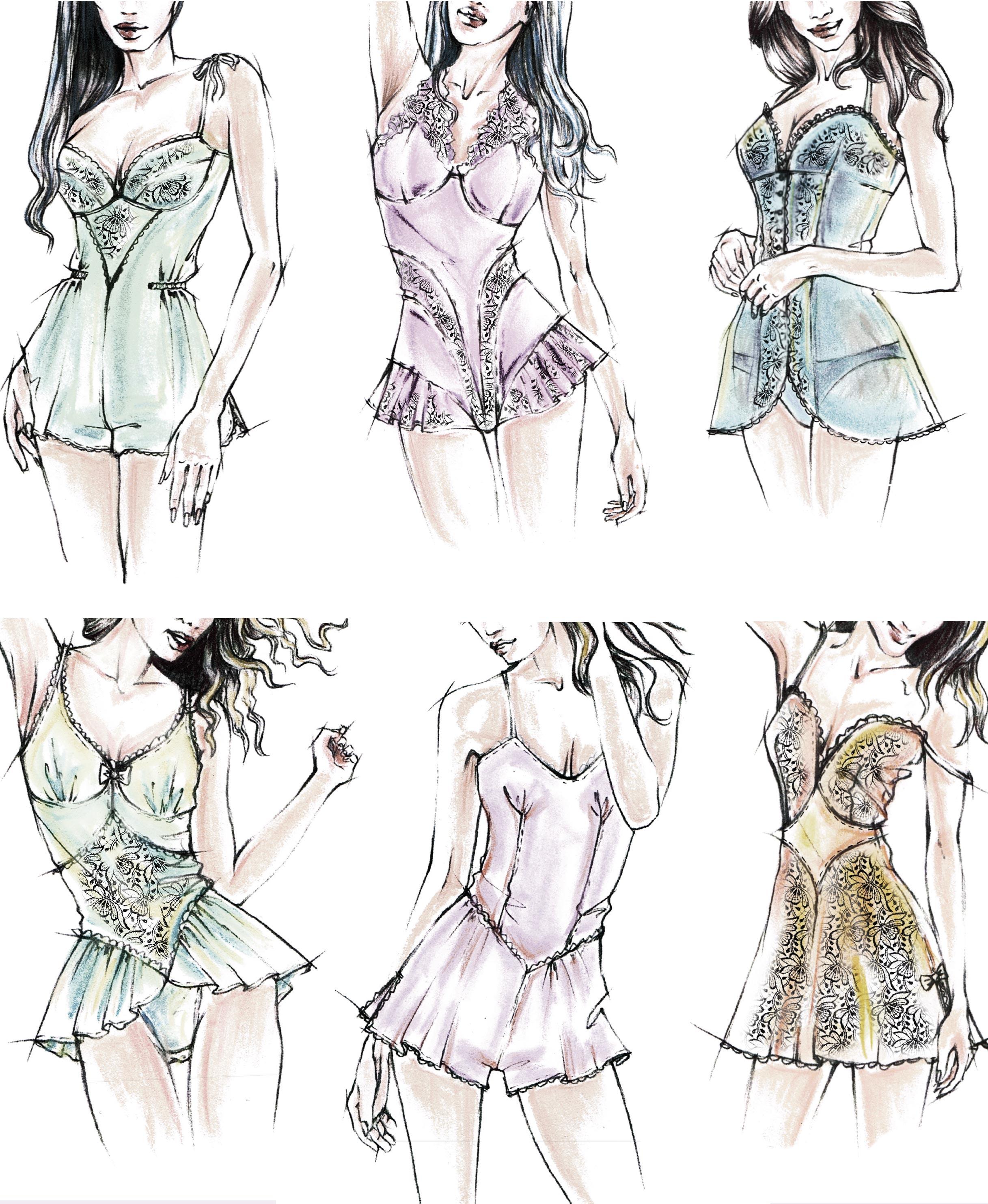 Das Foto zeigt die Modezeichnungen von Dessous als Vorlage für die Schnitt-Technik.
