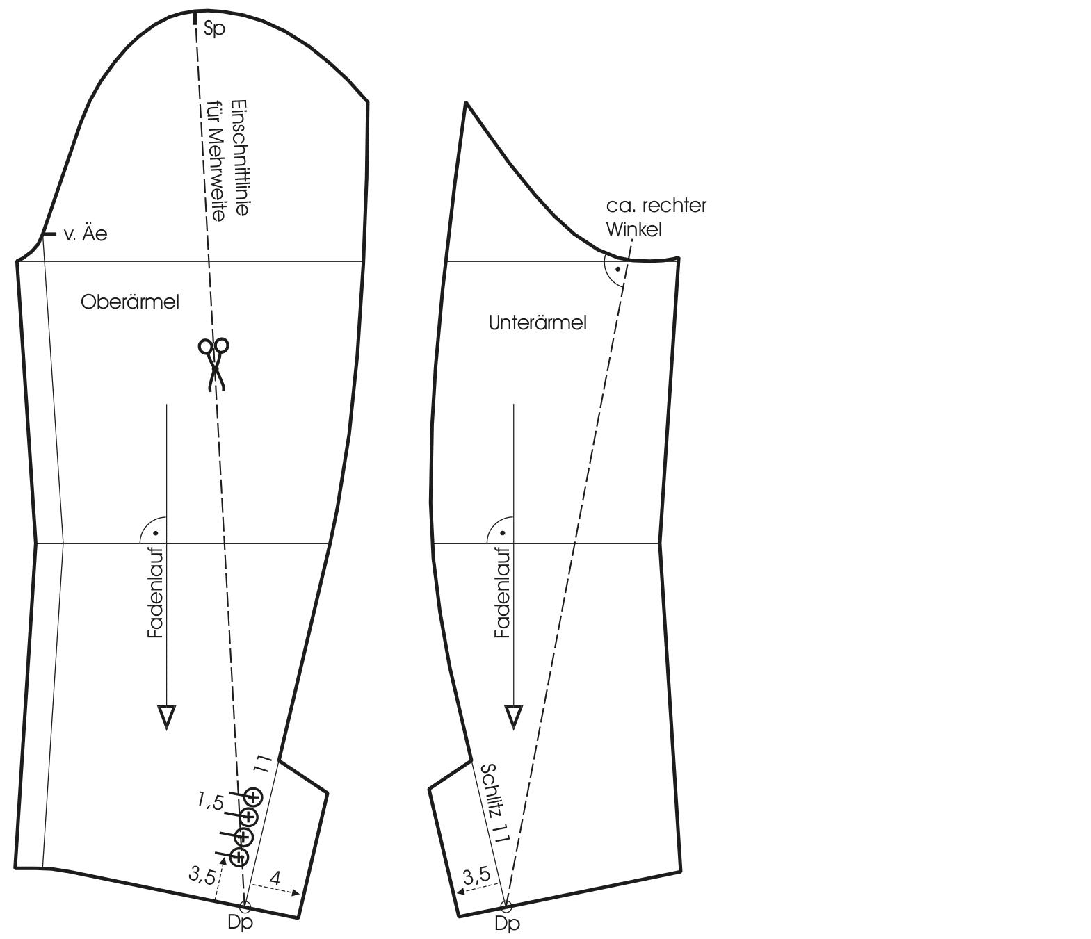 Zu sehen ist die Schnitt-Technik eines Dirigentenrockes. Hier der Ärmel.
