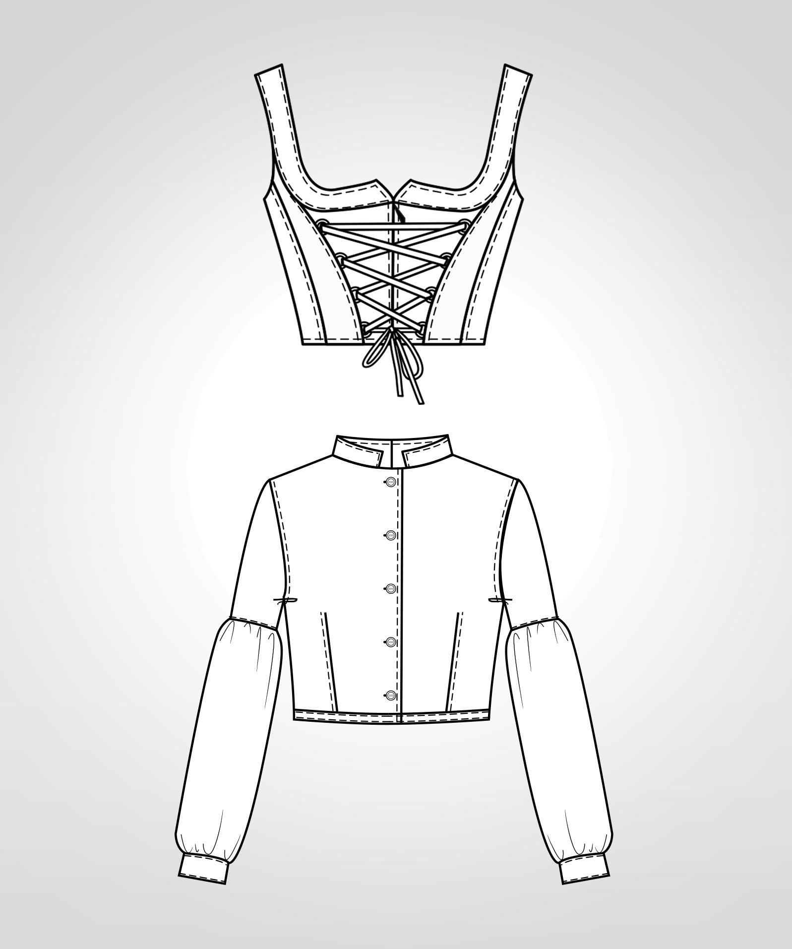 Diese technische Zeichnung zeigt die Vorder-und Rückansicht von Trachtenmode für Kinder Dieses Modell gibt es als Schnittmuster.