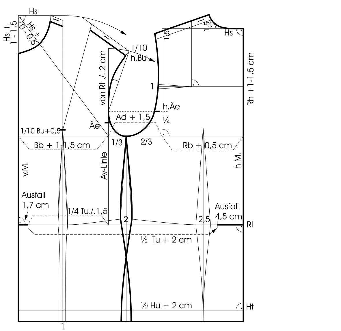 Die Abbildung zeigt die Schnittkonstruktion eines Dirndl-Oberteil Grundschnittes.