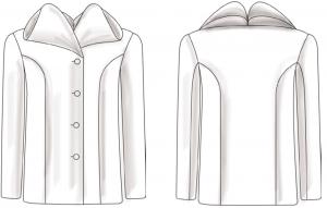 Die technische Zeichnung des doppelten Stehkragens eingearbeitet in Jacke.