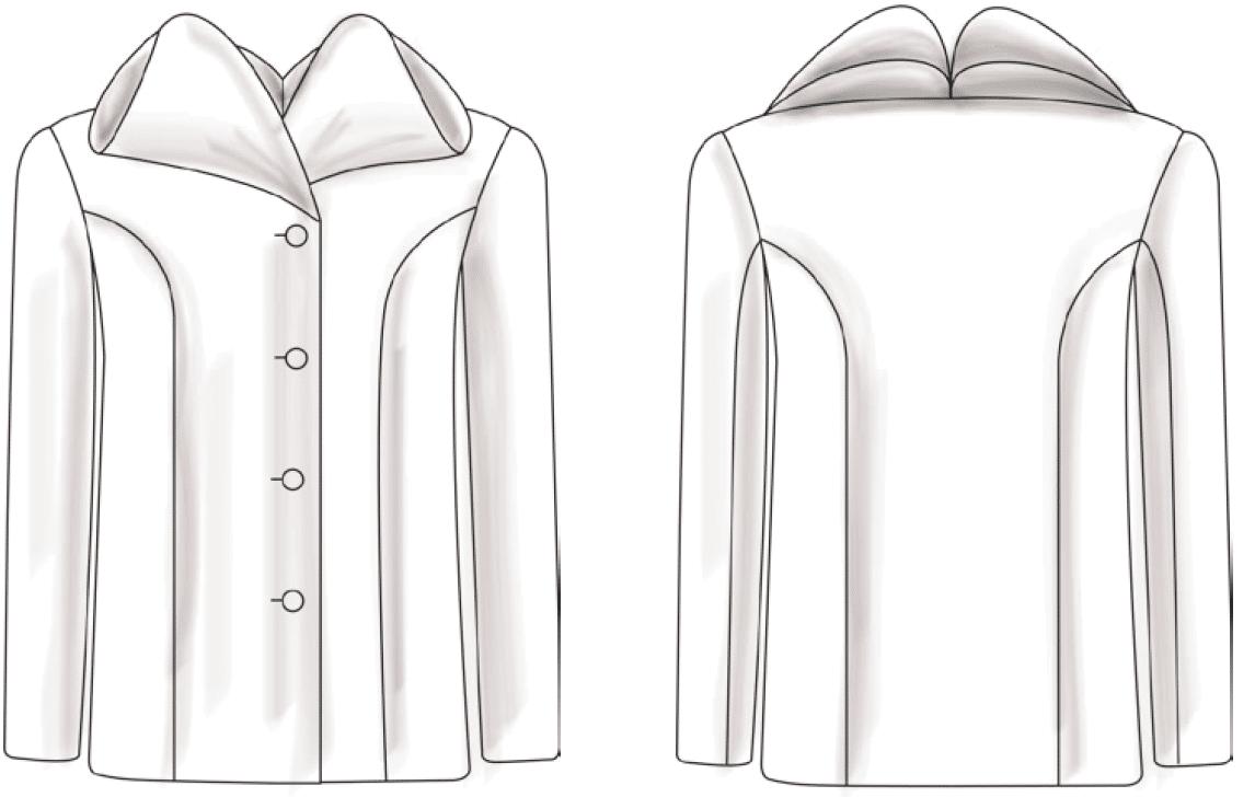 Die technische Zeichnung des doppelten Stehkragens ist zu sehen.
