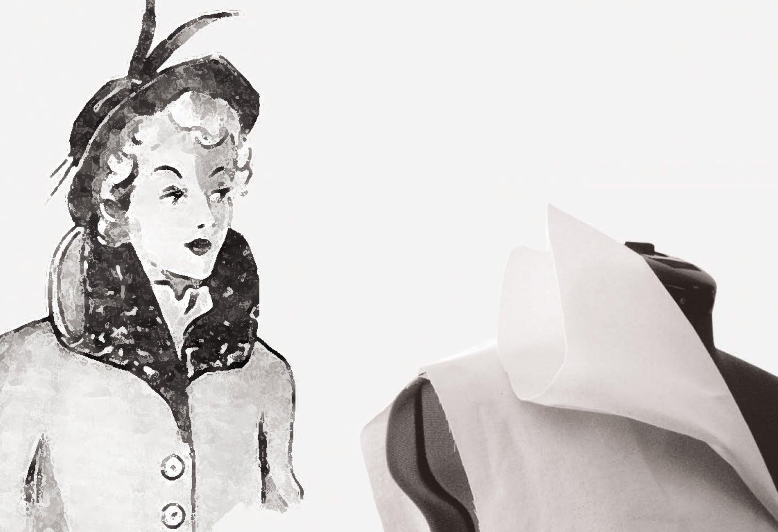 Eine Zeichnung und eine Nesselrpobe eine doppelten Stehkragens.