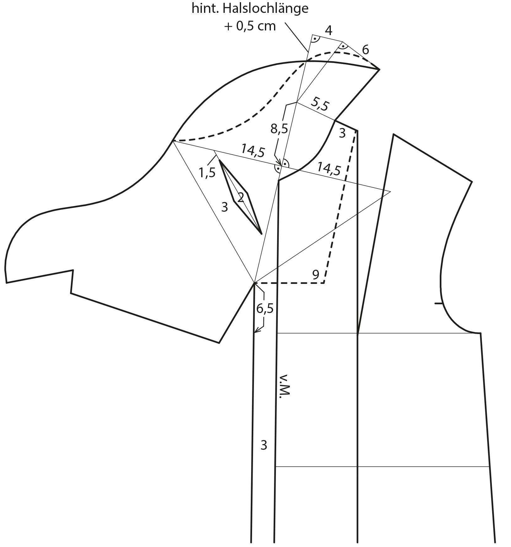 Die Abbildung zeigt die Schnittkonstruktion des Mantels mit doppelten Stehkragens