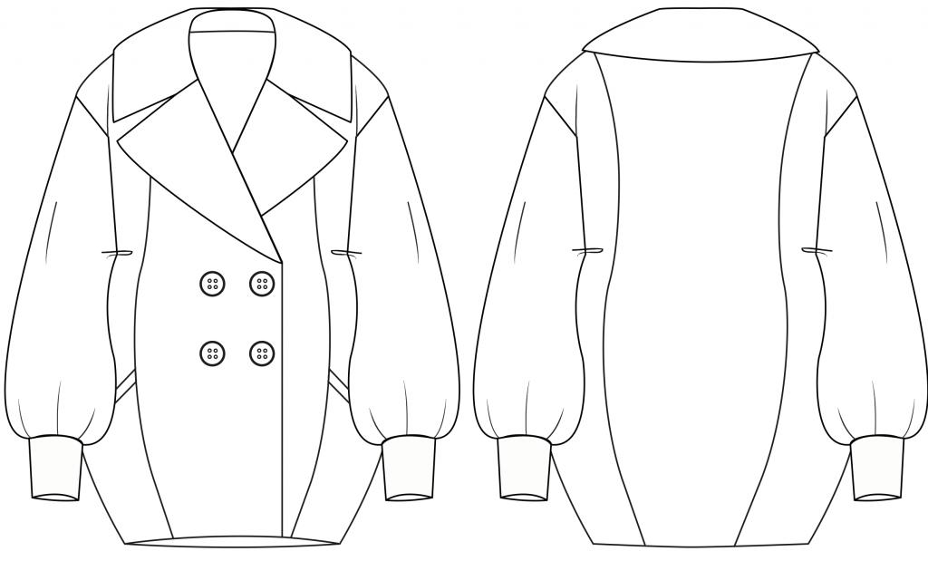 Diese technische Zeichnung zeigt einen Egg-Shape Mantel für Damen. Dieses Modell gibt es als Schnittmuster.