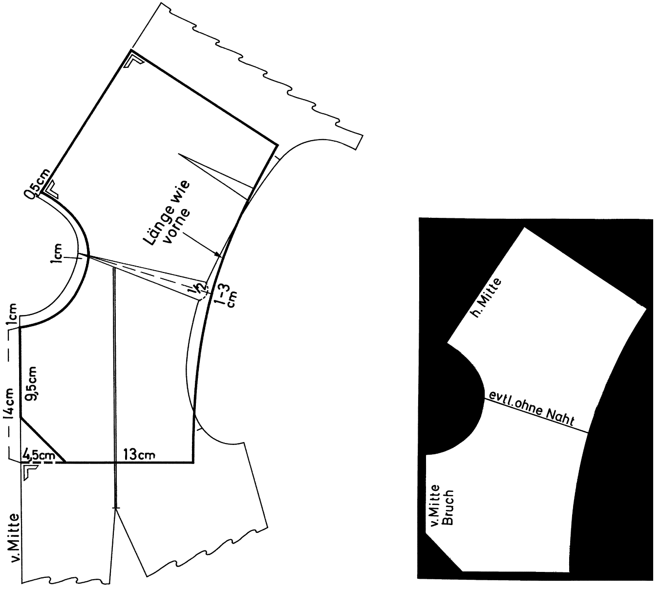 Abgebildet ist die Schnitt-Technik eines Garniturkragens inklusive fertige Schnittteile.