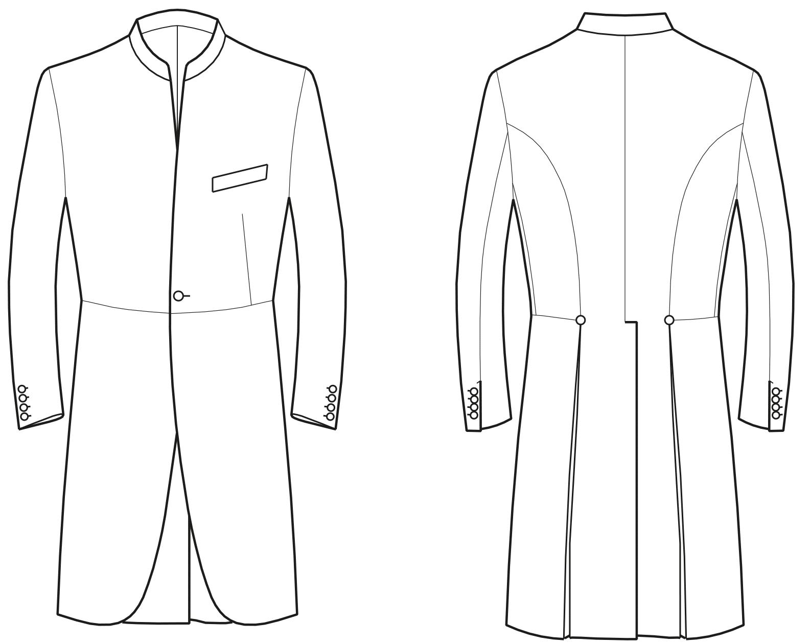 Abgebildet ist die technische Zeichnung eines Gehrockes.