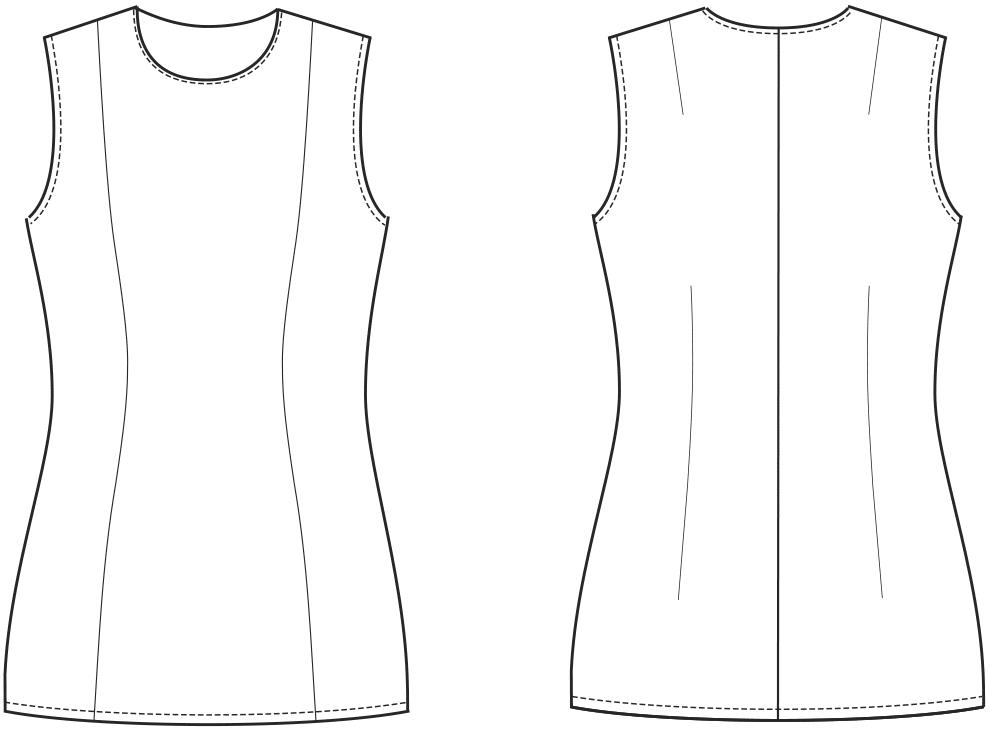 Oberteil-Grundschnitt Technische Zeichnung