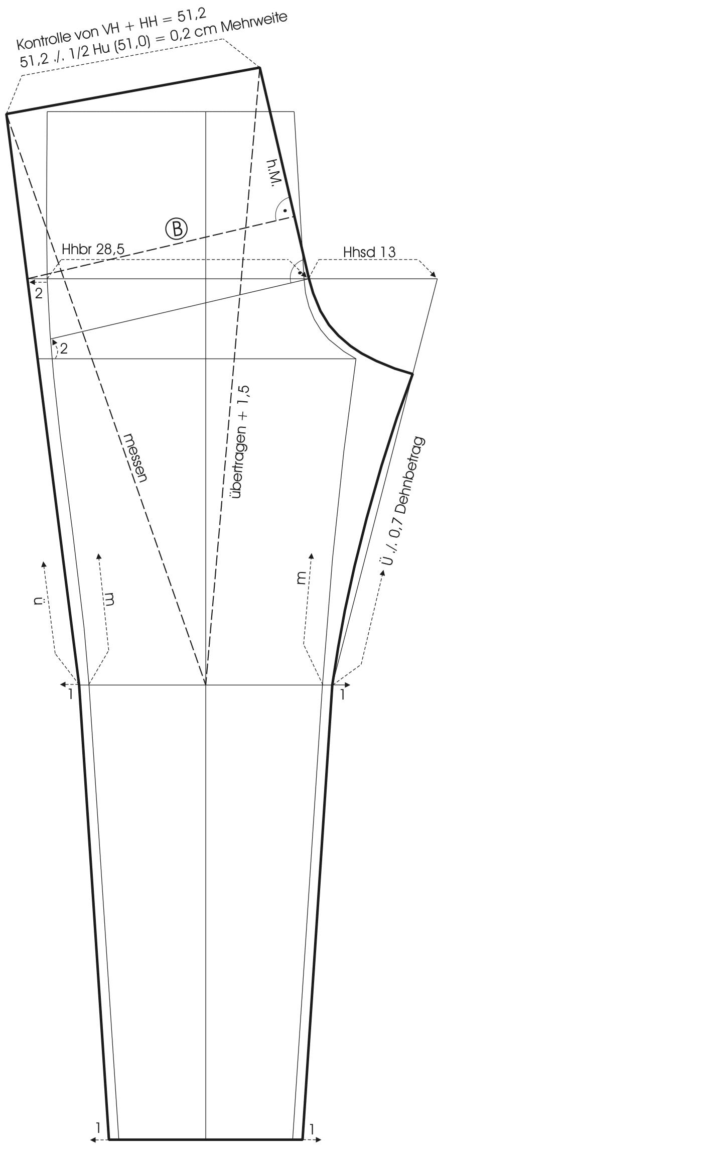 Zu sehen ist die Schnitt-Technik von dem Grundschnitt einer Hose.