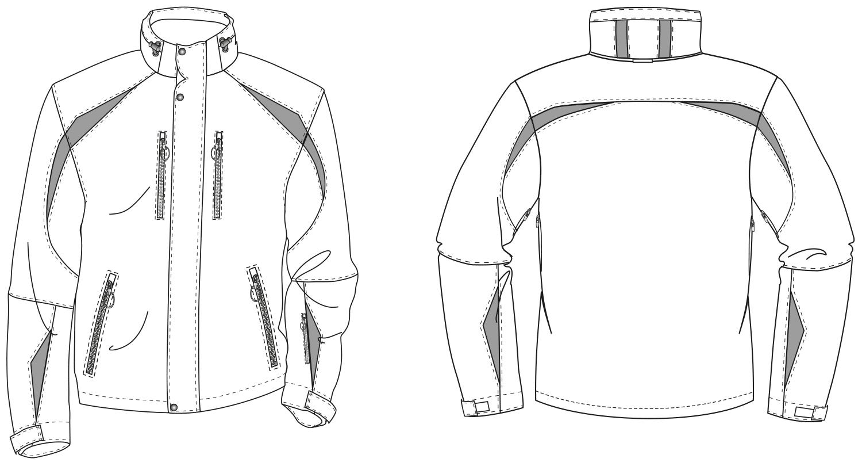 Abgebildet ist die technische Zeichnung von einer Skijacke.