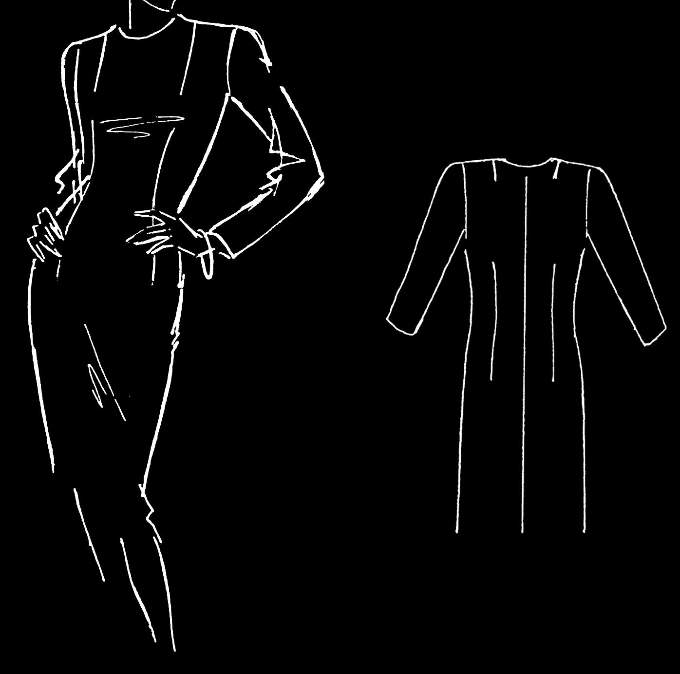 Abgebildet ist eine technische Zeichnung von einem Kleidergrundschnitt.