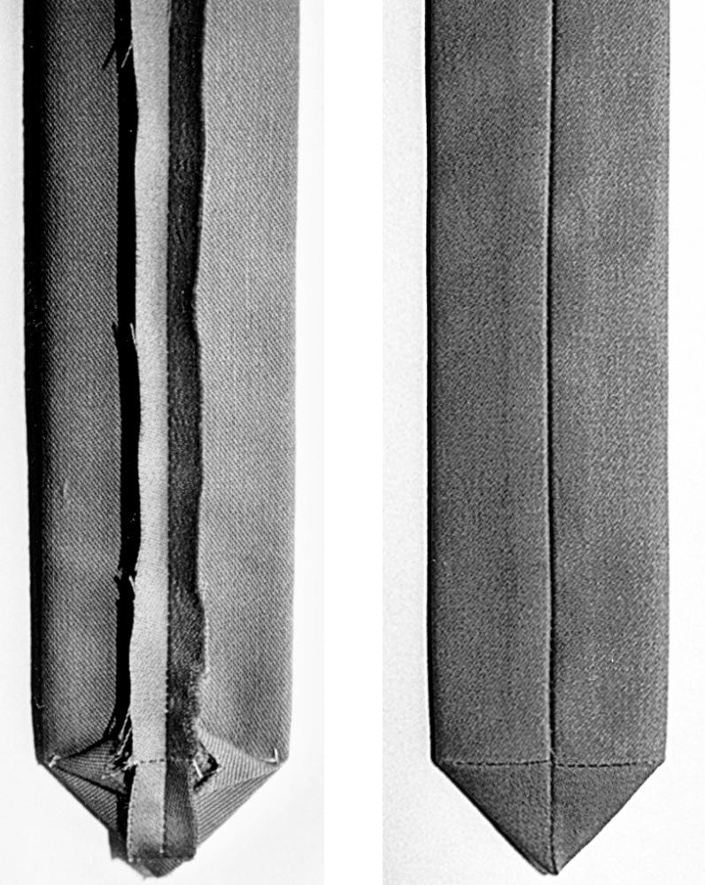 Das Foto zeigt zwei Abbildungen einer Gürtelspitze, die von links und rechts abgebildet wird. Sie ist fertig genäht.