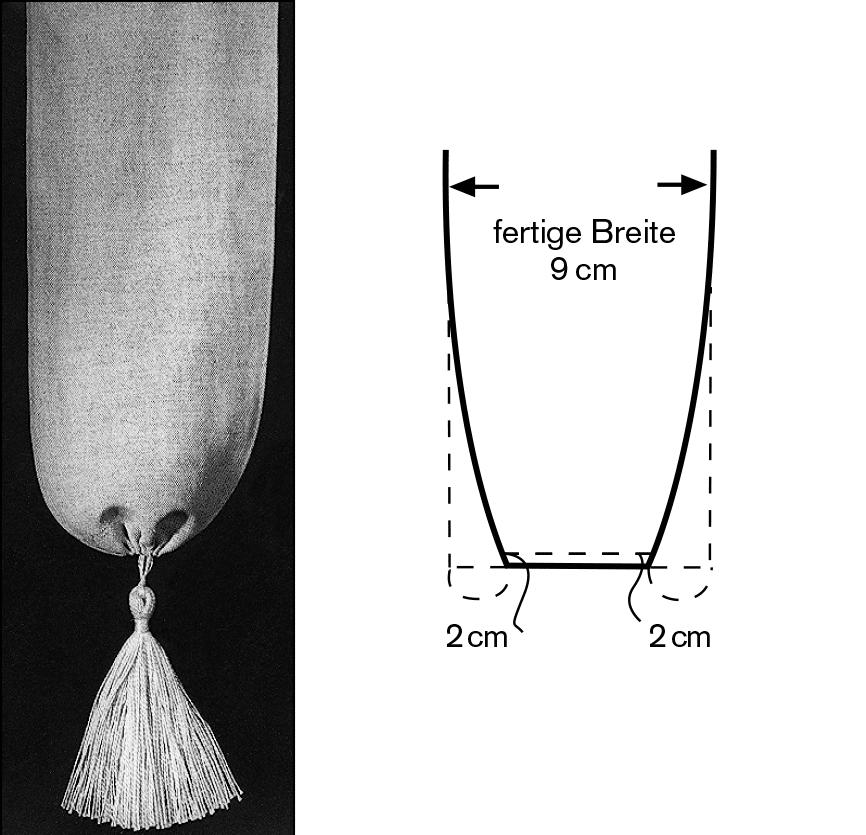 Das Foto zeigt einen Abschluss mit Quaste oder Bommel